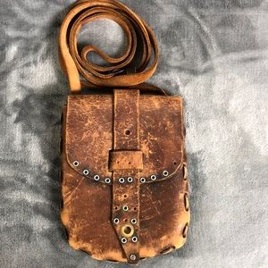 Handbags - Brown Distressed Leather Crossbody or Fanny Pack